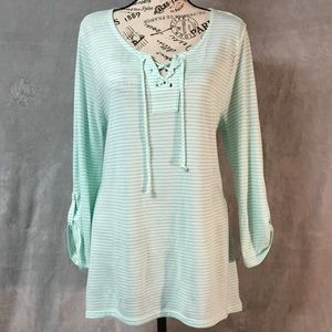 Sonoma Teal Blue with White Stripes Tunic Top L